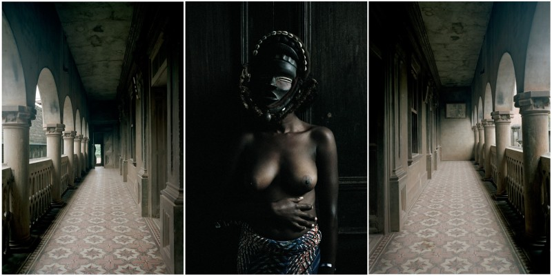Leonce Raphael Agbodjelou, 'Untitled Triptych (Demoiselles de Porto-Novo series)', 2012, C-type print, edition of 6 + 2 A. P, 150 x 100 cm each, Courtesy of Jack Bell Gallery
