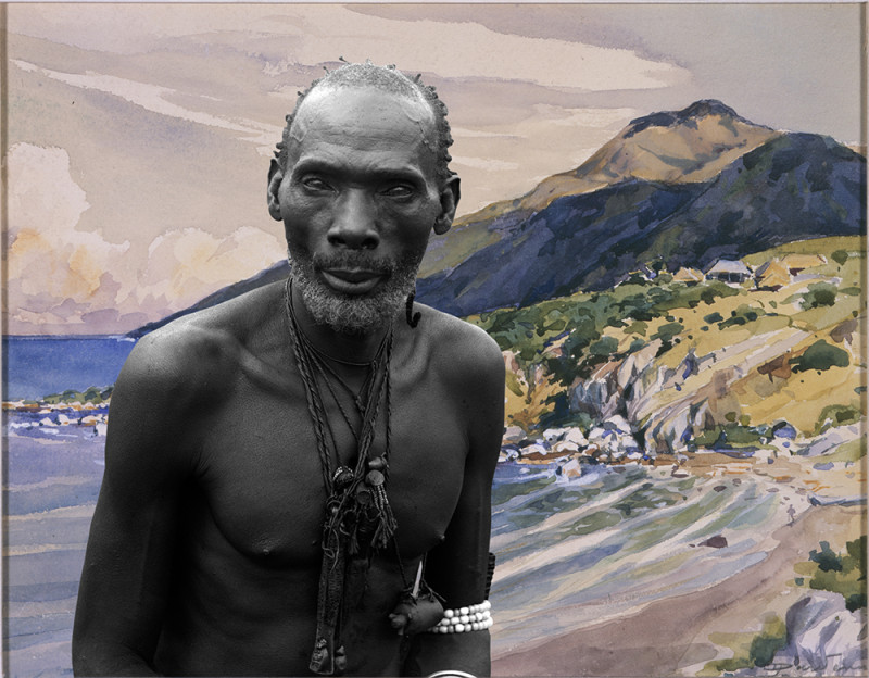 Sammy Baloji, 'Portrait #1, Kalamata, chief of the Luba against watercolor by Dardenne, Congo Far West: Retracing Charles Lemaire's expedition series', 2011, Archival digital photograph on Hahnemühle Photo Rag 308 gr/m2, edition of 5 + 2  A. P, 100 x 128 cm, Courtesy of the artist and AXIS Gallery