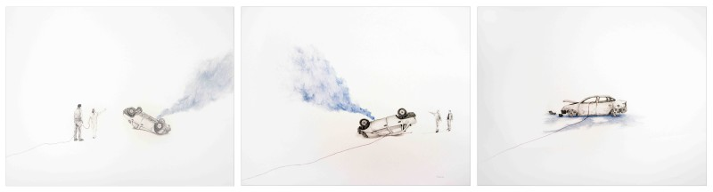 Massinissa Selmani, 'Walk under a white sky' (triptych), 2015, Three drawings and pencil on paper, 60 x 50 cm each, Courtesy of Primo Marella Gallery