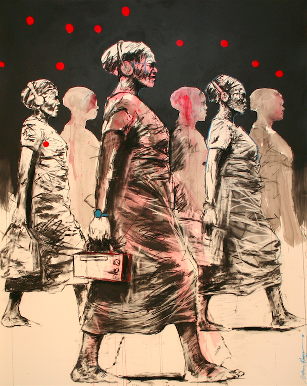Nelson Makamo, 'They Move With Time', 2014, Mixed media on paper, 160 x 121 cm, Courtesy of CIIRCA Gallery