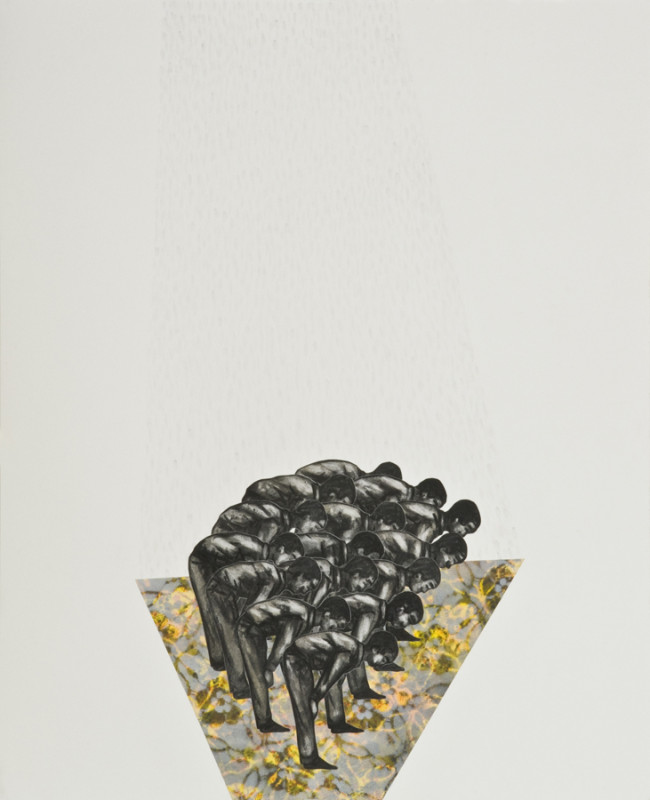 Peterson Kamwathi, 'Untitled, Positions Series Part II, XII', 2015, Charcoal, stencil, pastel, spray paint, watercolour, ink and collage on paper, 91.5 x 75 cm, Courtesy of ARTLabAfrica