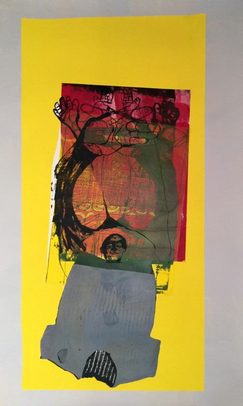 Virginia Chihota, Ndiani achamira neni muimba yekugadzira chikafu? (who will stand with me in the house of making food?), 2016, Screen print on paper, 186 x 114 cm. Courtesy the artist and Tiwani Contemporary