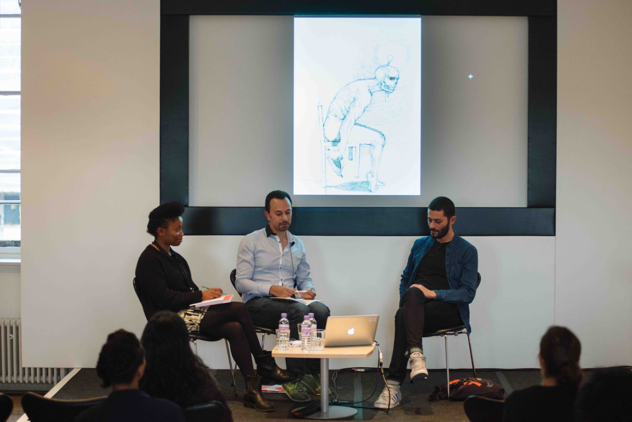 1:54 FORUM 2015: Omar Berrada in conversation with artist Nidhal Chamekh, with translator Paula De Alma. Image courtesy of 1:54 © Benjamin Hoffman