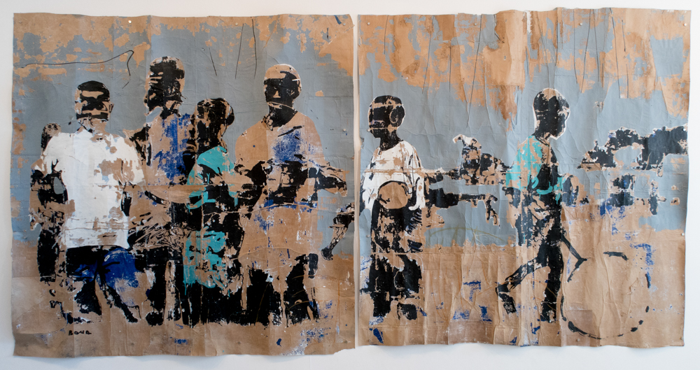 Armand Boua, 'Untitled (diptych)', 2016, Acrylic and oil stick on cardboard, 207 x 410 cm, Courtesy of Jack Bell Gallery