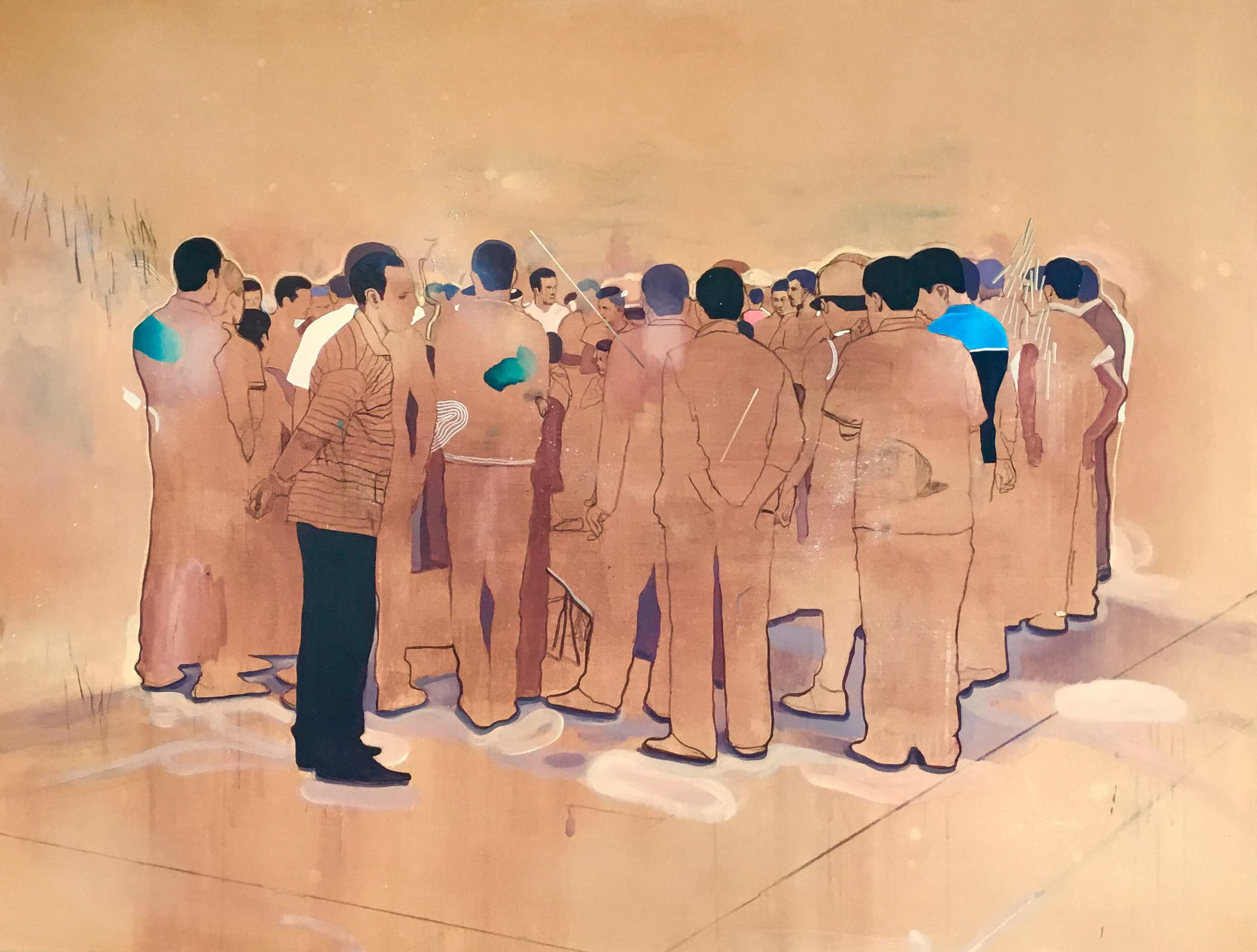 Nabil El Makhloufi, 'La Foule IX', 2016, Oil, acrylic and charcoal on canvas, 170 x 130 cm, Courtesy of L'atelier 21