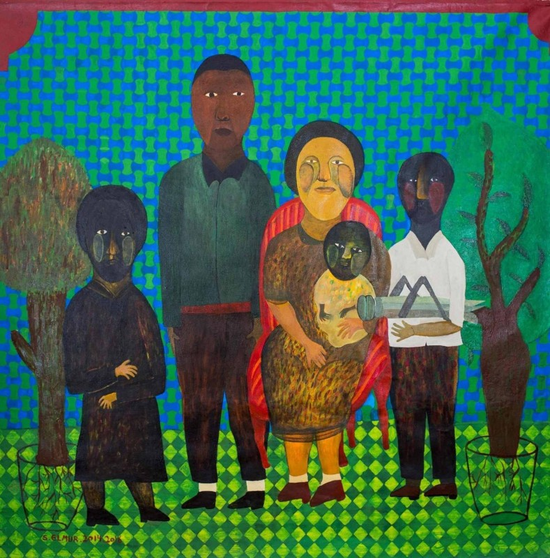 Salah El Mur, 'Photo After The Harvest', 2016, Acrylic on canvas, 145 x 145 cm, Courtesy of Mashrabia Gallery of Contemporary Art