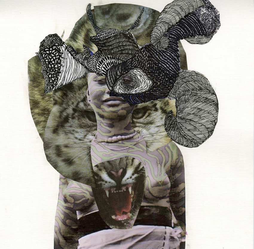 Kenyatta A.C. Hinkle, 'The Huntress', 2014, Indian ink and collage on cotton paper 30.48 x 30.48 cm, Courtesy of Jenkins Johnson Gallery