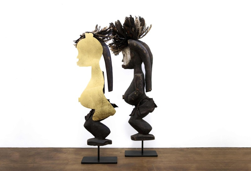 Niyi Olagunju, 'Lega', 2016 Bisected wood sculpture, polished gold and stainless steel foil set on black patinated steel stand, 87 cm (height), Courtesy of TAFETA