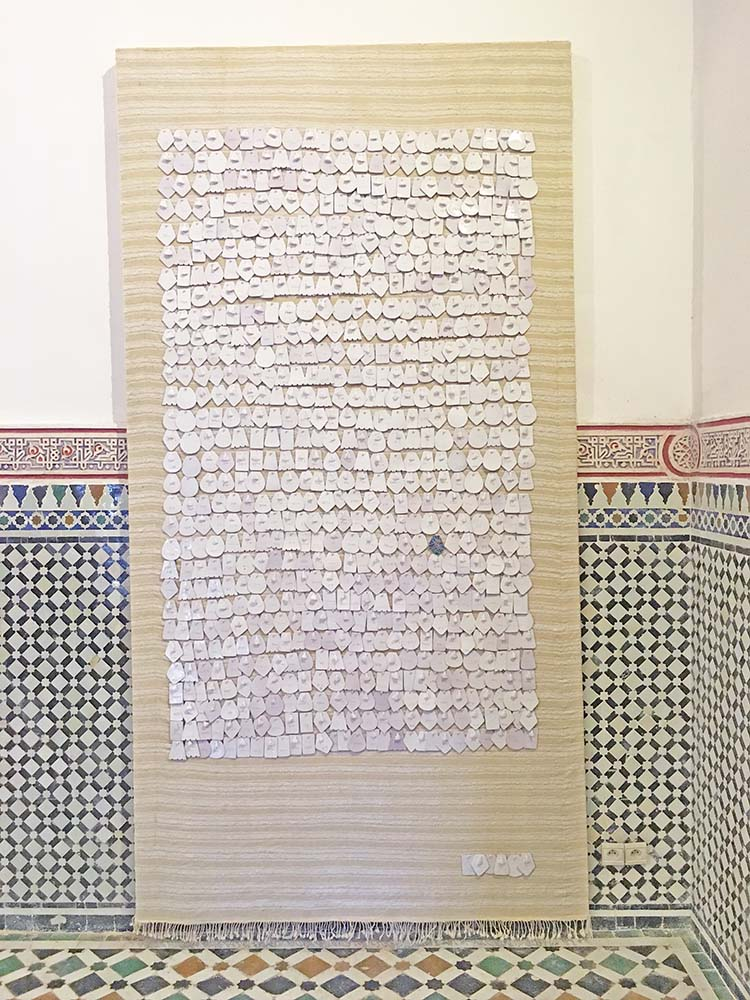 Sara Ouhaddou, 'Igdad (Oiseau)', 2016, Zemmour weave, cotton and wool, ceramic, enameled silver 300 x 160 cm, Courtesy of VOICE gallery