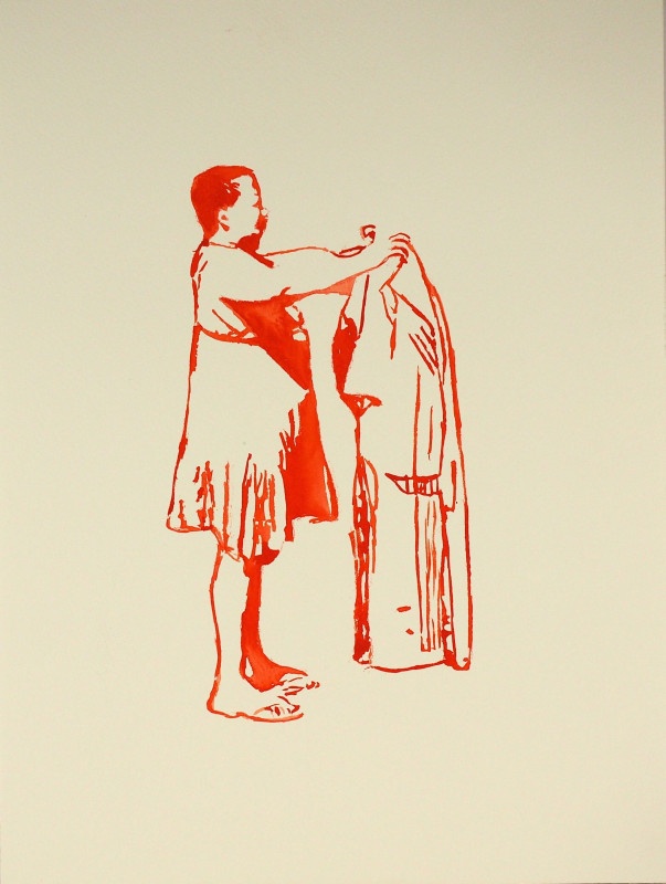 Senzeni Marasela, 'covering sara baartman', 2011  watercolour, 40.5 x 30 cm, Courtesy of AFRONOVA GALLERY