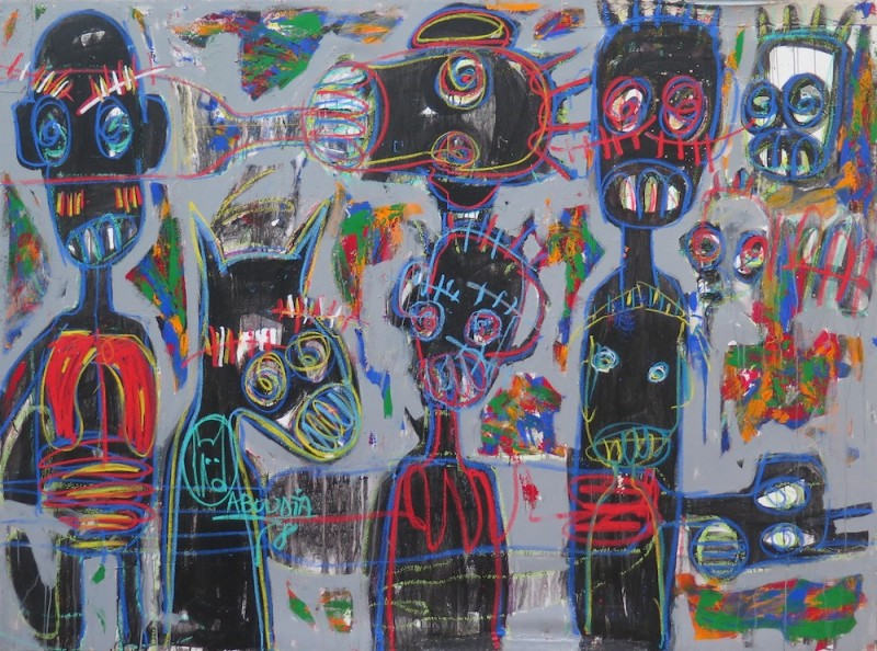 Aboudia, 'Untitled', 2015, Mixed media on canvas, 230 x 180 cm, Courtesy of Galerie Cécile Fakhoury