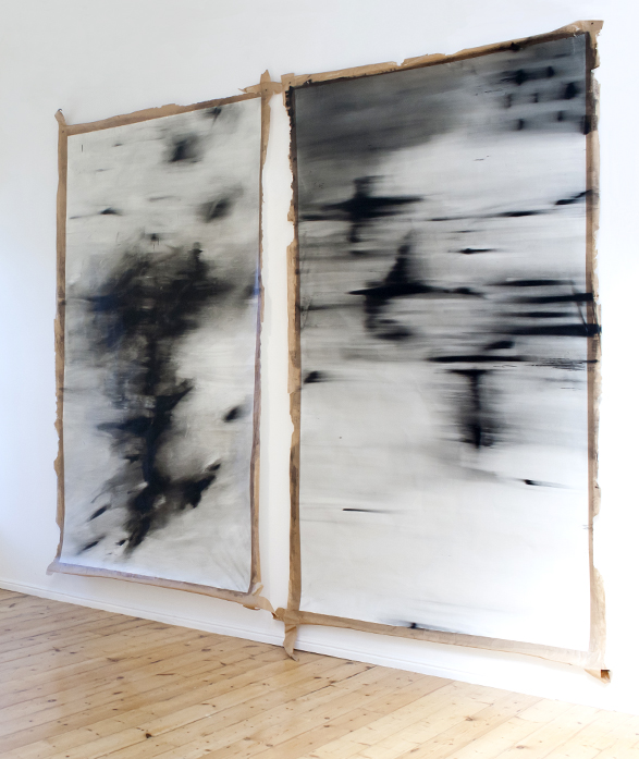 Alexandra Karakashian, Passing XX & Passing XXI, 2015, Oil on Paper, 200 x 130 cm each, Courtesy of the artist and SMAC Gallery