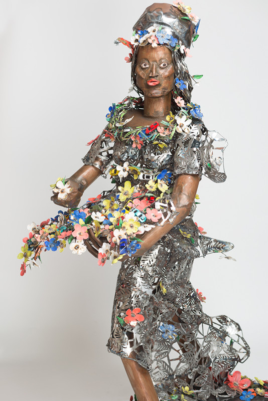 Sokari Douglas Camp, 'Primavera', 2015, Steel, gold leaf and acrylic paint 201 x 72 x 162 cm, Courtesy of October Gallery. Photograph by Jonathan Greet