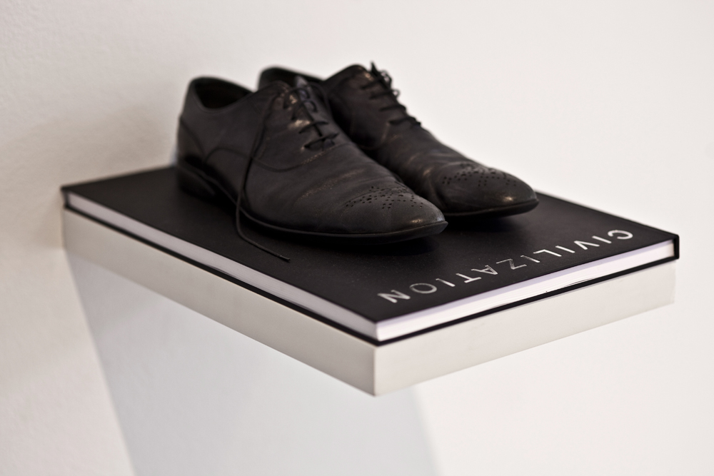 Mounir Fatmi, 'Civilization', 2013-2014, Artist's shoes and book, edition of 5, 30 x 43 cm, Courtesy of Officine dell'Immagine