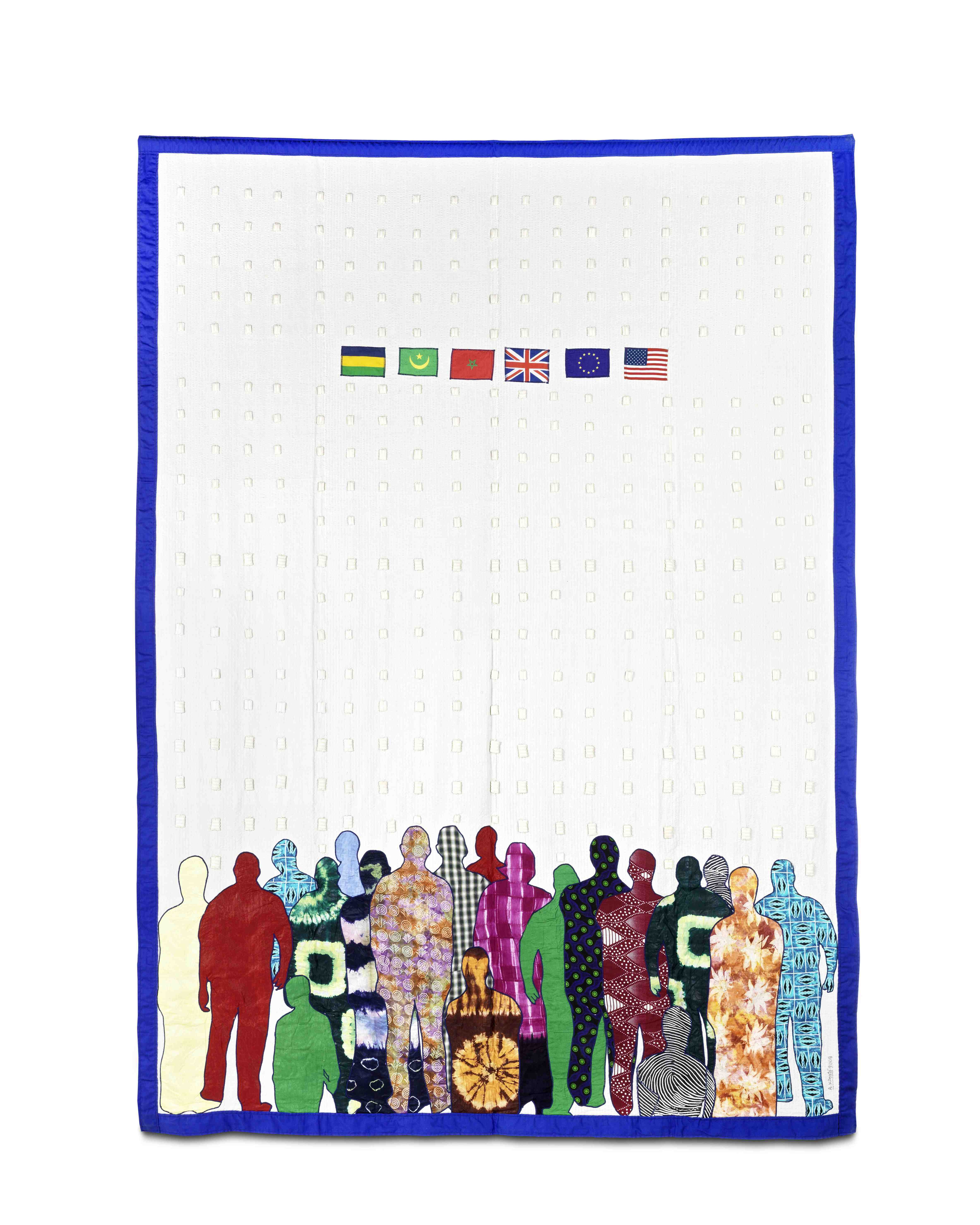 Abdoulaye Konaté, Generation Biométrique no. 5, 2008-2013, Textile, 317  × 227  cm, Courtesy of the artist and Modern Forms