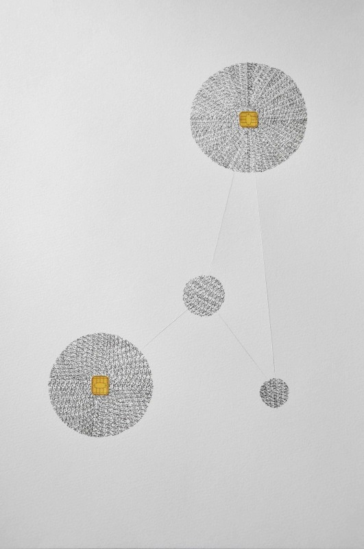 Farah Khelil, 'IQRA', 2015, Ink and micro-modules (electronic chips) on 300g Vinci paper, 120h x 80w cm, Unique, IQRA series, Courtesy of Selma Feriani Gallery