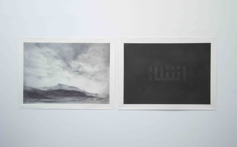 Nidhal Chamekh, 'Untitled', 2016, Graphite powder and varnish on cotton paper, 56.5h x 76.5w cm each (diptych), Unique, Courtesy of Selma Feriani Gallery