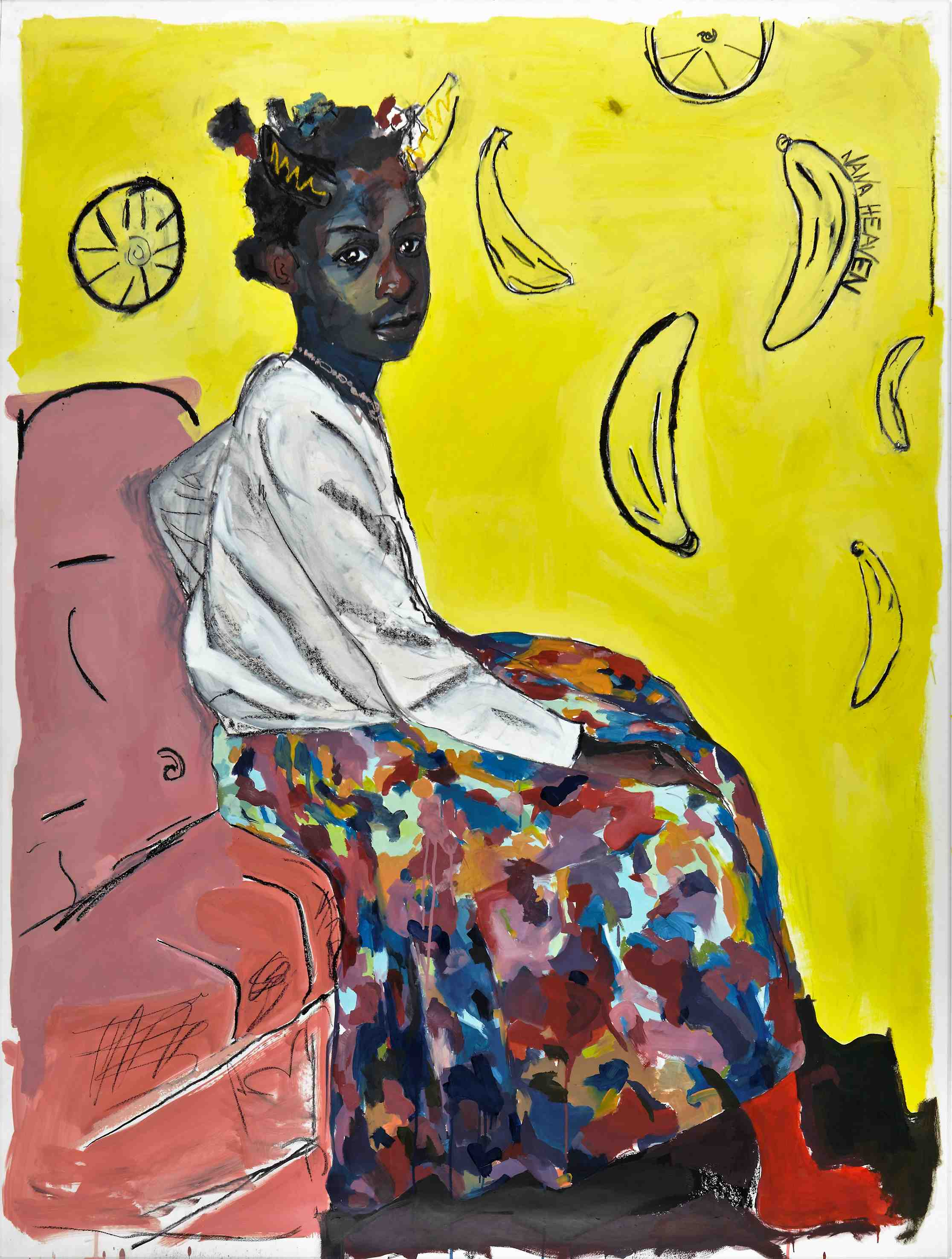 Kudzanai-Violet Hwami, 'Ego in Red Socks', 2016, Oil and charcoal on paper, 205 x 156 cm, Courtesy of Tyburn Gallery
