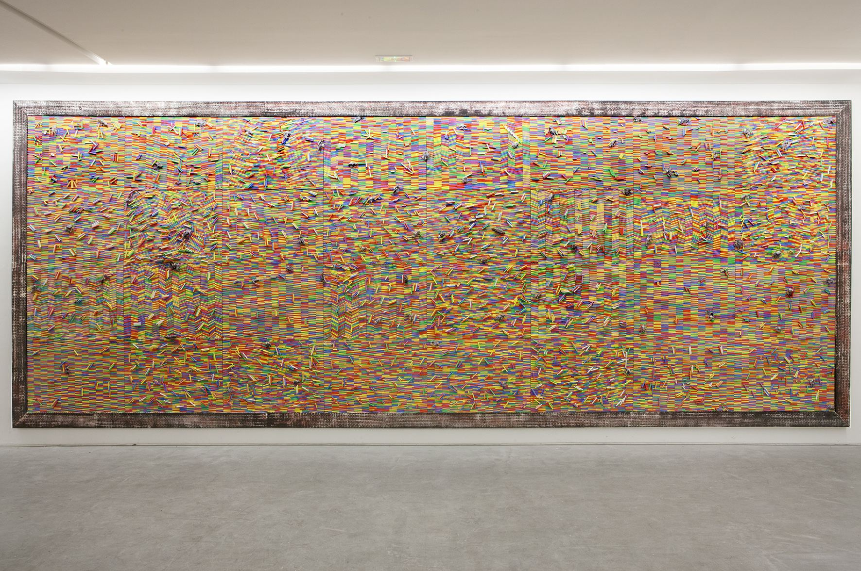 Pascale Martine Tayou, Chalk Fresco, 2015, Chalk, mixed media, 311 × 818  cm, Courtesy the artist and Modern Forms