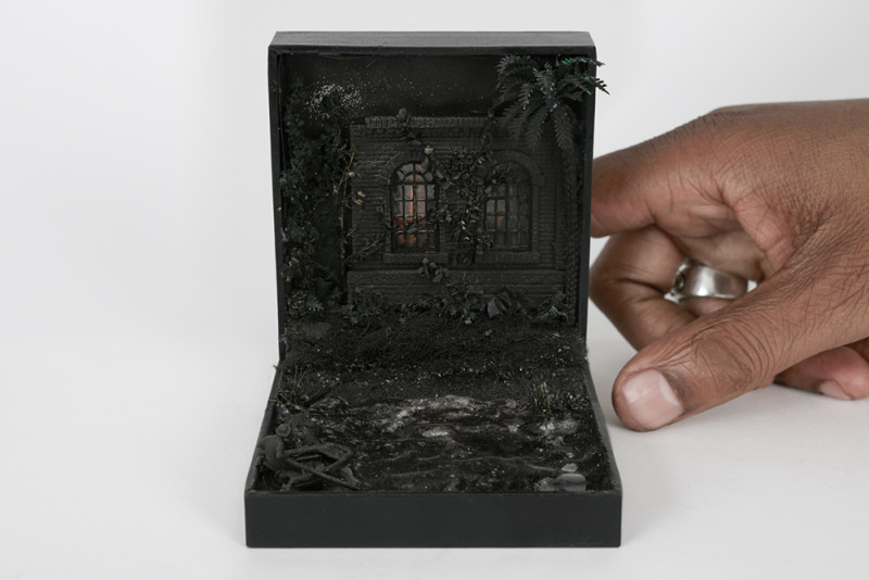 Curtis Talwst Santiago, Gaia III, 2017, Mixed media diorama in Art, Nouveau sterling, Silver jewelry box (1908), 10 x 8 x 12 cm. Courtesy Gallery MOMO