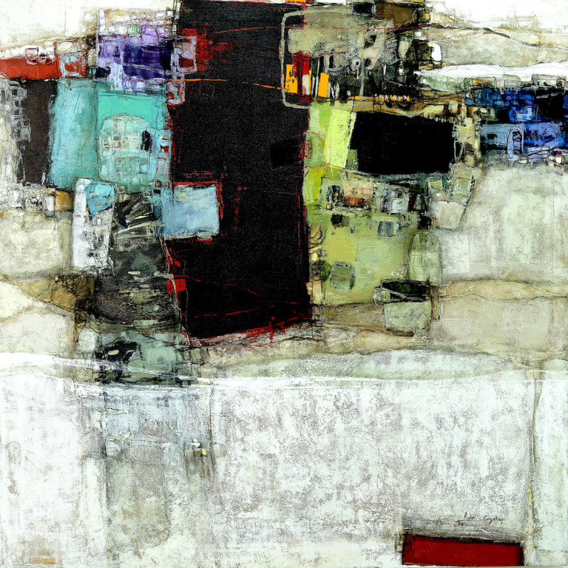 Addis Gezehagn, Floating City VI, 2017, Acrylic on canvas, 100 x 100 cm. Courtesy Addis Fine Art
