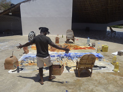 Patrick Joel Tatcheda Yonkeu, visiting artist at Thread. Tambacounda, Senegal