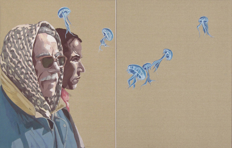 Atef Maatallah, Sidi Ali Azzouz, 2012, Acrylic and pen on back of canvas, 90x70 cm each. Courtesy the artist and Elmarsa