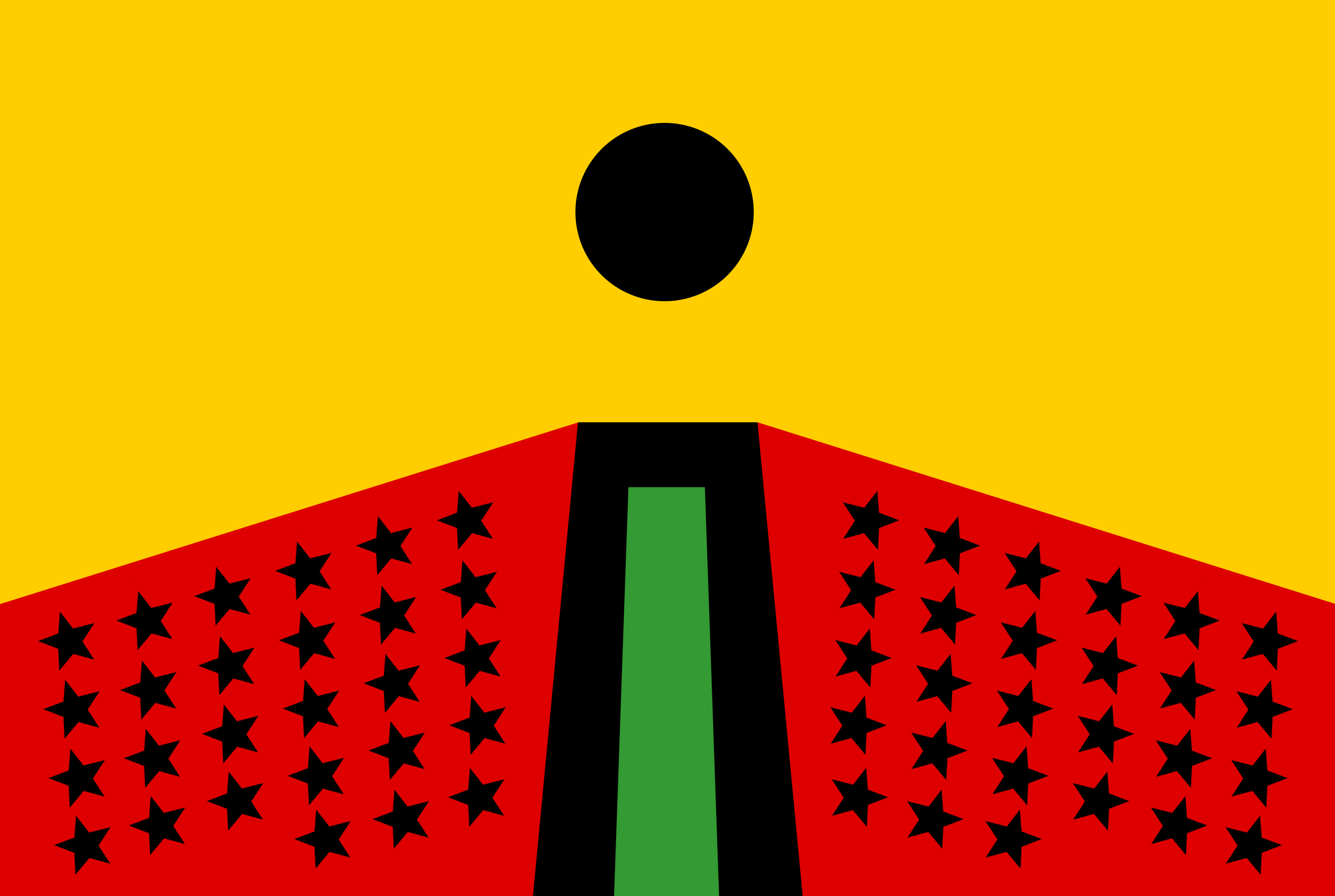 Larry Achiampong, PAN AFRICAN FLAG FOR THE RELIC TRAVELLERS ALLIANCE, 2017. Courtesy the artist