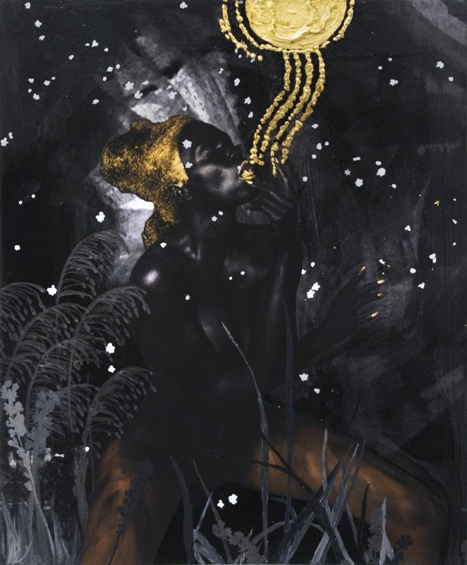 Lina Iris Viktor, The Dark Continent No. VI, 2016, Pure 24-karat gold, acrylic, ink and polymer varnish, print on cotton rag paper, 22 x 26 cm. Courtesy Mariane Ibrahim Gallery