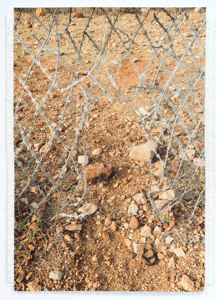 Dan Halter, Hole in Zim / SA Border Fence, 2017, Hand-woven ink-jet prints on acid-free Ivory Enigma paper, 88 x 63 cm, Edition of 3 + 1 AP. Courtesy the artist and WHATIFTHEWORLD