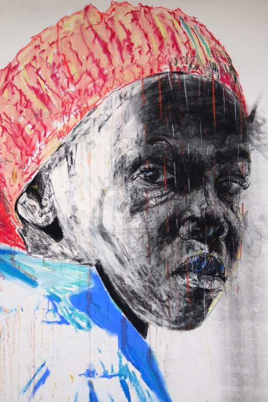 Nelson Makamo, Dark Comprehension, 2017, Acrylic, pastels and charcoal on paper, 160 x 120 cm. Courtesy the Gallery of African Art (GAFRA)