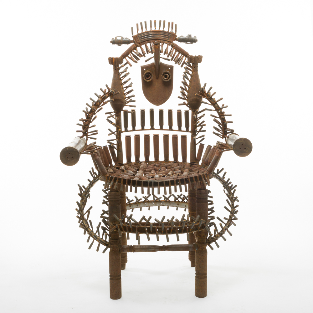 Gonçalo Mabunda, The Throne of the World, 2016, Decommissioned arms, 89 x 66 x 133 cm. Courtesy Jack Bell Gallery