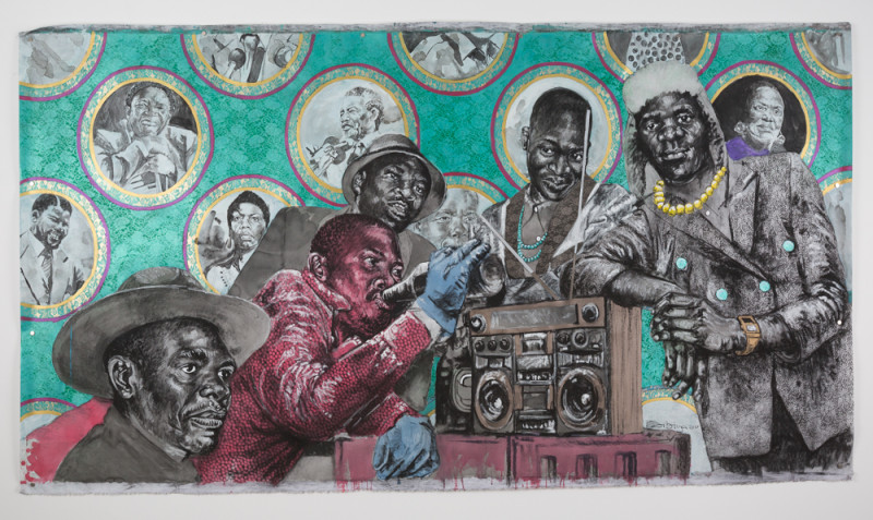 Bambo Sibiya, Untitled, 2017, Charcoal and acrylic on canvas, 165 x 290 cm. Courtesy Jack Bell gallery