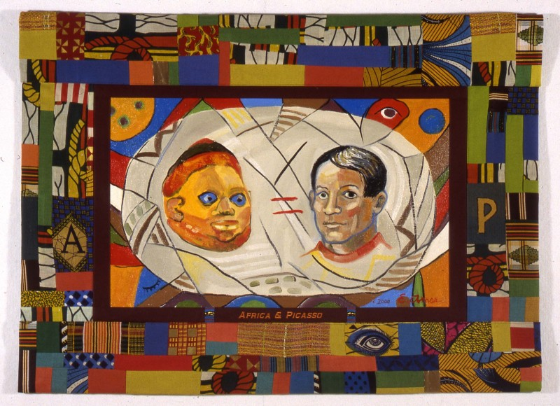 Emma Amos, Africa and Picasso, 2000, Oil on linen, pieced African fabric border, 79 x 107 cm / 31.1 x 42.13 in, Courtesy of Galerie Anne de Villepoix