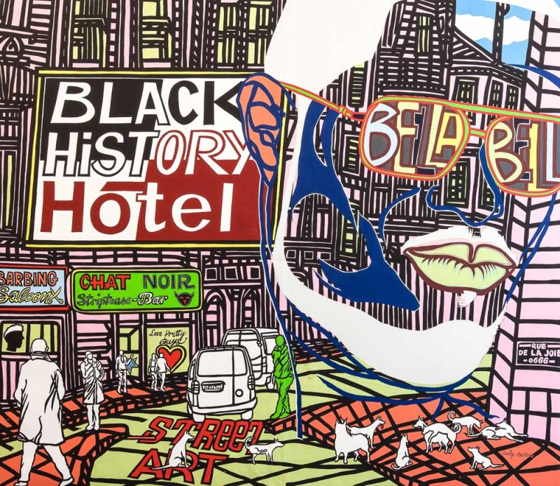 Boris Nzebo, Hot Town, 2015, Acrylic on canvas, 200 x 230 cm / 78.74 x 90.55 in, Courtesy of Jack Bell Gallery