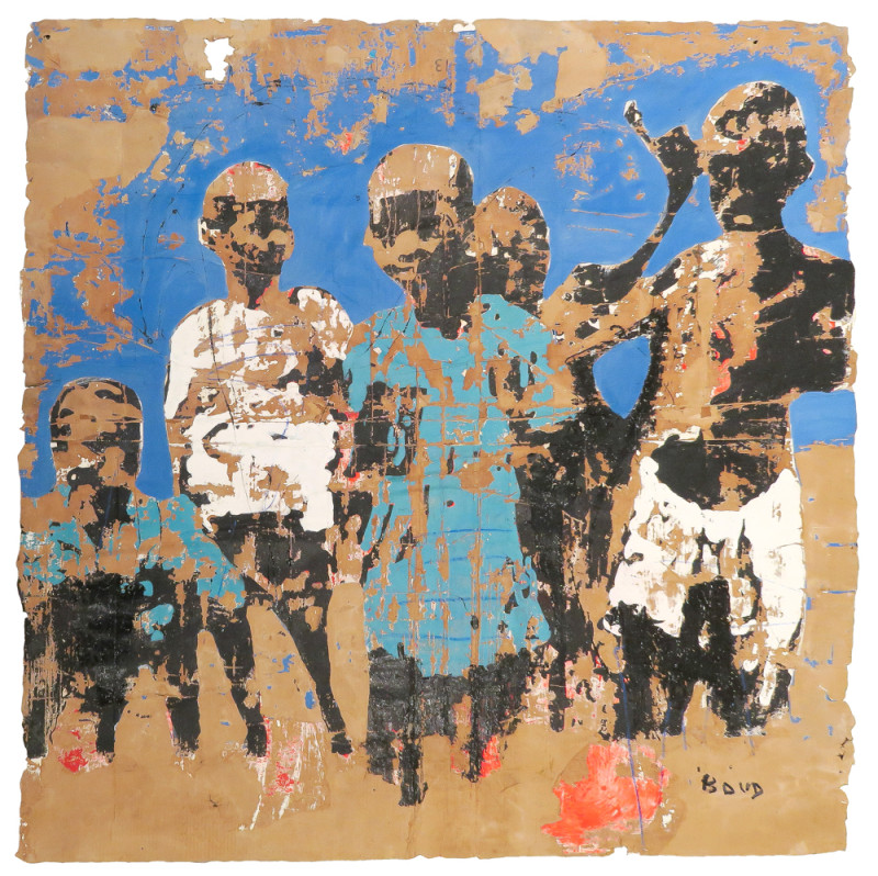 Armand Boua, Les ZINZINS, 2016, Acrylic and asphalt on cupboard paper, 210 x 210 cm / 82.68 x 82.68 in, Courtesy of Jack Bell Gallery