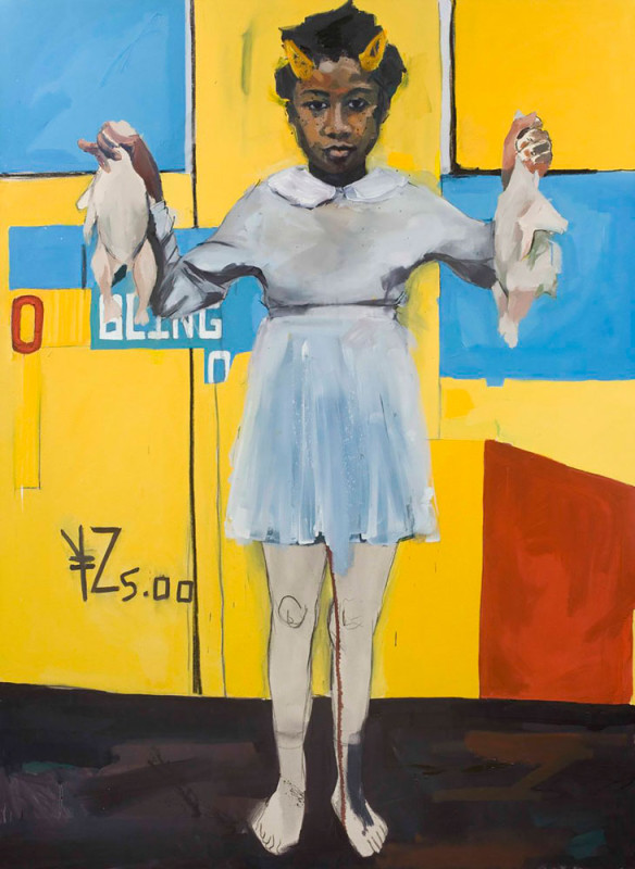 Kudzanai-Violet Hwami, Eve on an apple bottom, 2016, Oil on paper, 200 x 150 cm / 79 x 59 in, Copyright the artist and Tyburn Gallery