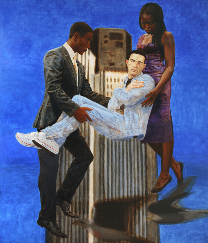 Kimathi Donkor, Jean Charles de Menezes Borne Aloft by Joy, Gardner and Stephen Lawrence, 2010, Oil on canvas, 190 x 100 cm / 75 x 39 in, Courtesy the artist and Ed Cross Fine Art