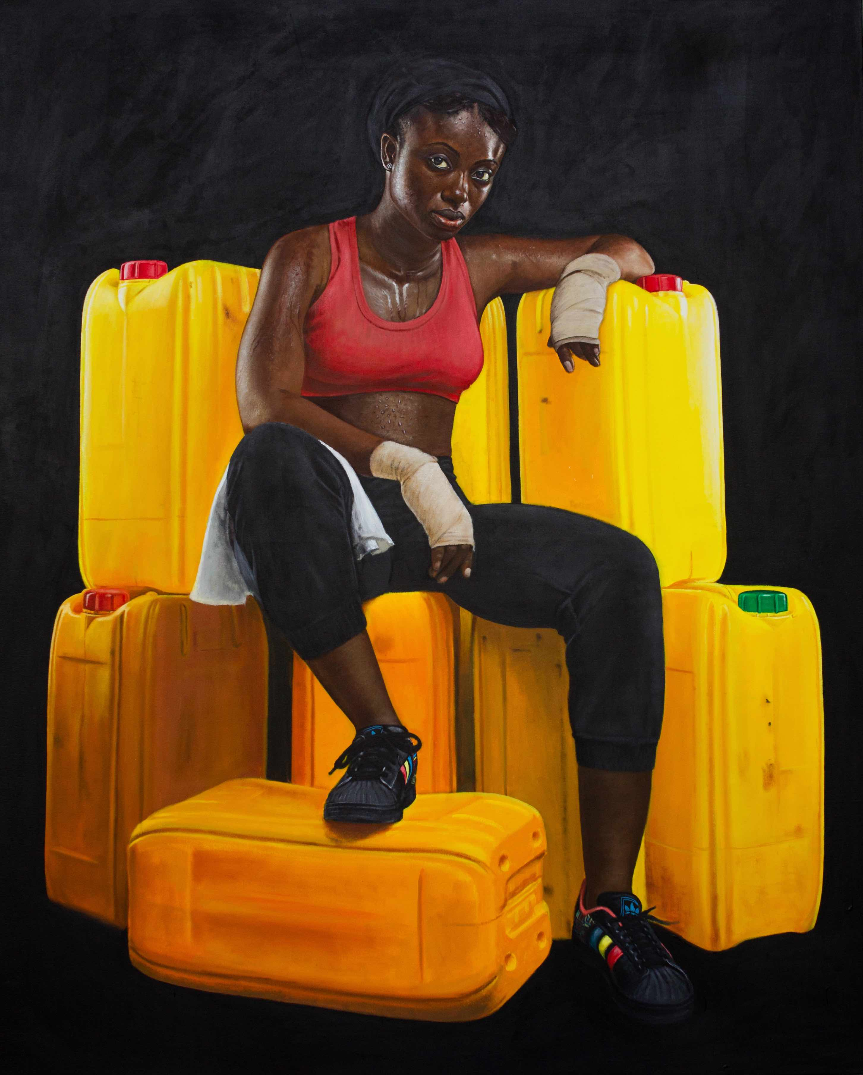 Jeremiah Quarshie, Franklina, Yellow is the Colour of Water, 2016, Acrylic on canvas, 152 x 122 cm / 60 x 48 in, Courtesy Gallery 1957