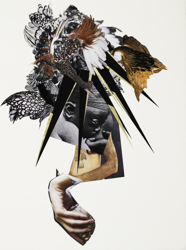 Marcia Kure, MAMA (Black Madonna), 2017, (from the Of Saints and Vagabonds series), Collage, 24 karat gold on arches natural white, hot press, watercolor paper, 76 x 56 cm / 30 x 22 in, Unique piece, Courtesy Officine dell'Immagine