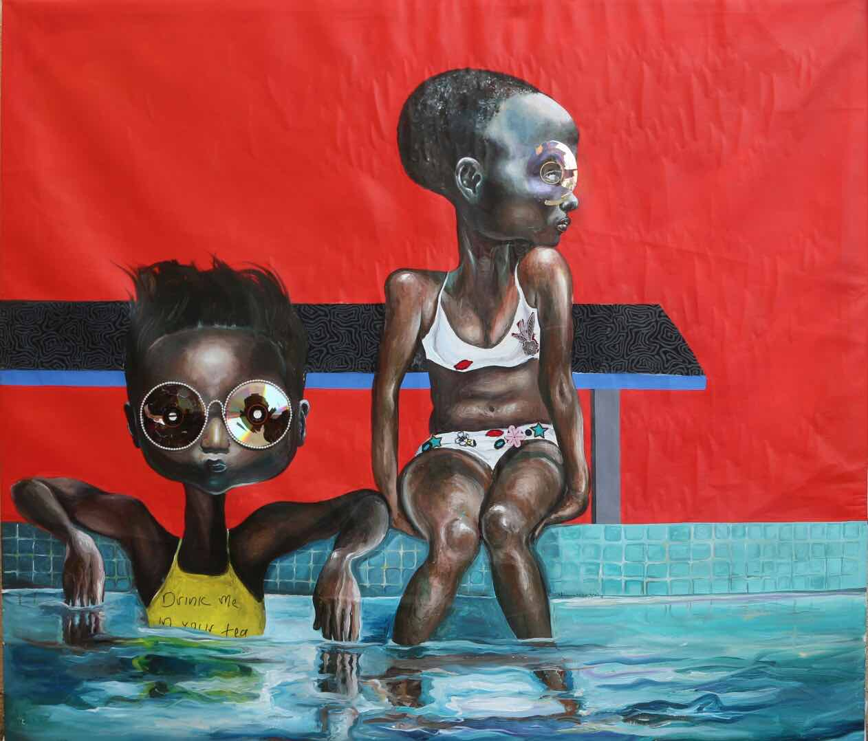 Ndidi Emefiele, Untitled I, 2016, Mixed media on canvas, 120 x 100 cm / 47 x 39 in, Courtesy Rosenfeld Porcini