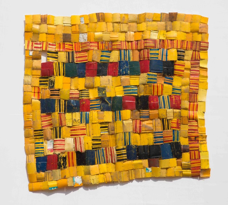 Serge Attukwei Clottey, Patched Heritage, 2016, Plastic, wire, oil paint, 157 x 177 cm / 62 x 70 in, Courtesy Gallery 1957