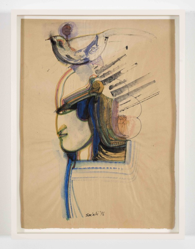 Ibrahim El-Salahi, Untitled, 1976, Watercolour on newspaper, 38 x 28 cm / 15 x 11 in, Courtesy Vigo Gallery