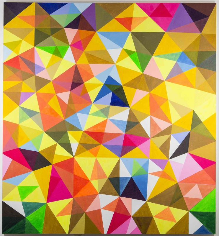 Ihosvanny, Improv with Triangles IV, 2015, Mixed media on canvas, 202 x 180 cm / 80 x 71in, Courtesy MOV'art Gallery